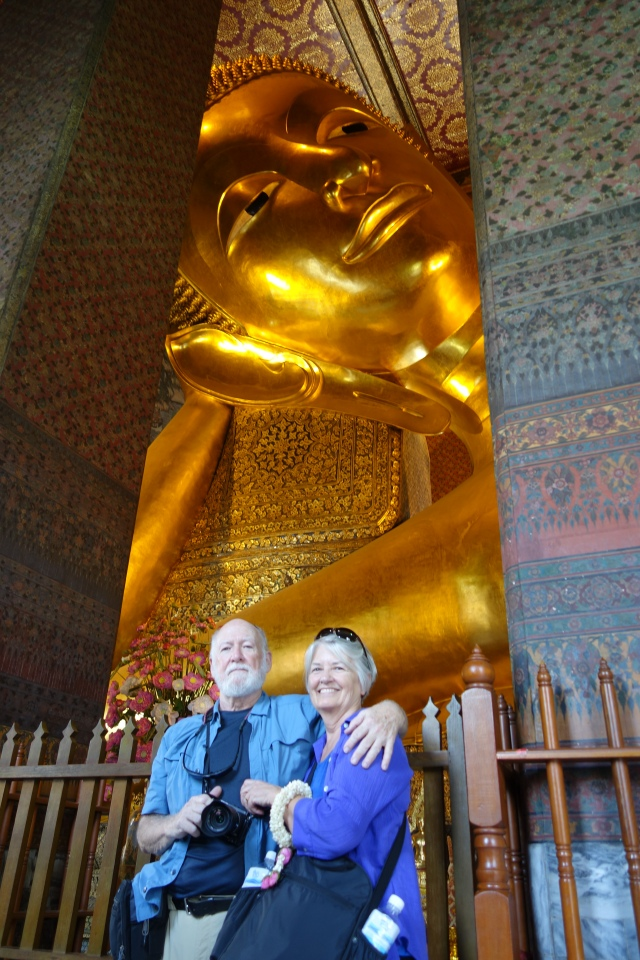 The Reclining Budda at Wat Pho is 46 metres long and 15 metres high