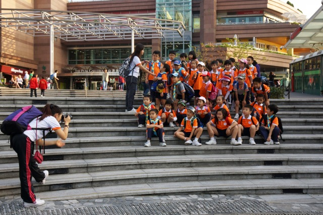 A school group visiting the Peak