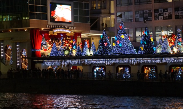 Christmas lights as the Star Ferry docked