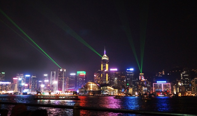 Hong Kong Lazer Show viewed from Kowloon Avenue of the Stars.