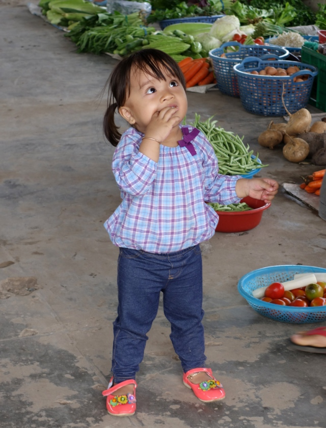 This cute little girl followed us around the market on the island.