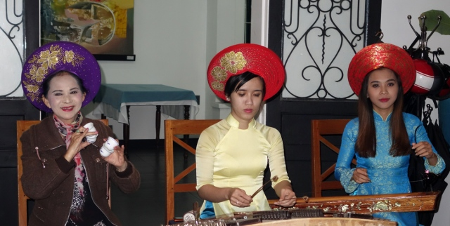 Traditional Vietnamese instruments, but playing western pieces while we ate.