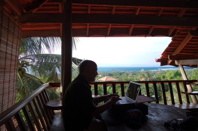 Catching up on pictures for blog--what a spot to work in