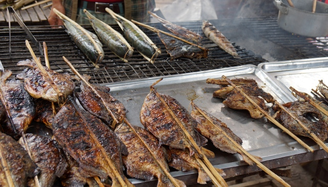 Fried fish from morning catch