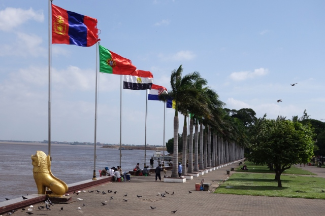 The riverfront with all UN nation flags