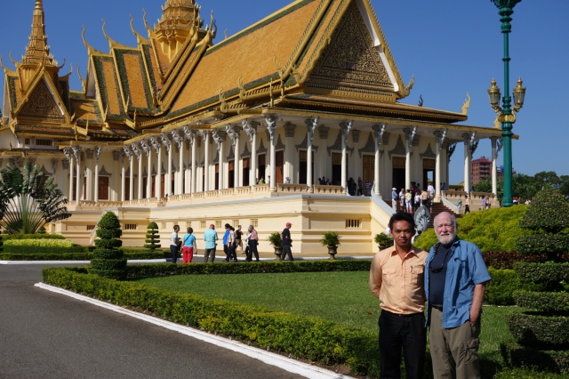 Our guide, Sothy, and Gary in front of the palace