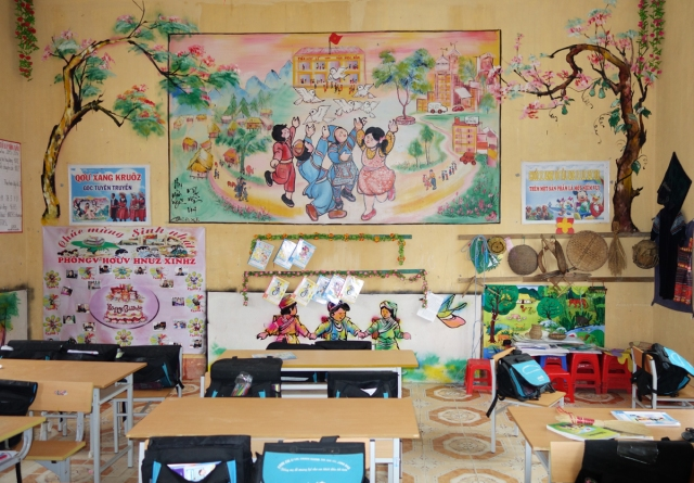 A very colorful classroom - schools are government with additional funds from various organizations
