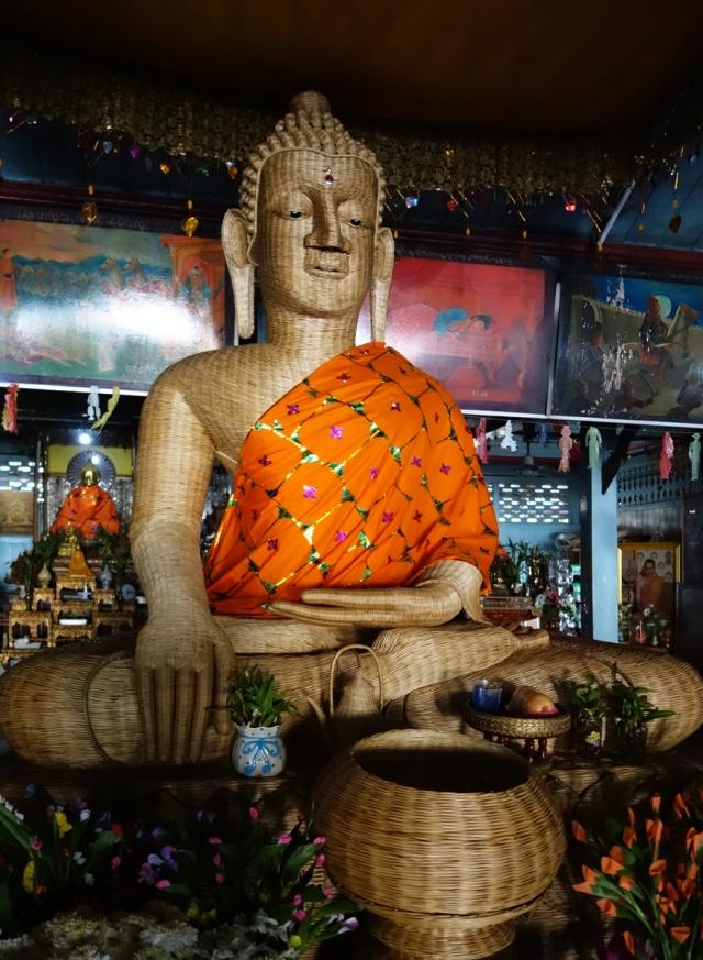 A woven bamboo Buddha