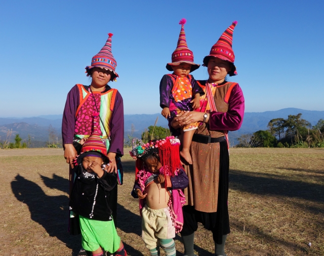 The      traditional dress.  Going over the mountain road from Mae Hong Son to Pai