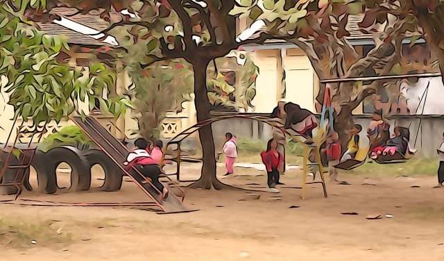 Children in the school yard