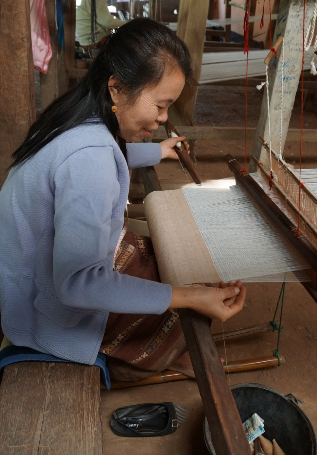 The owner weaving