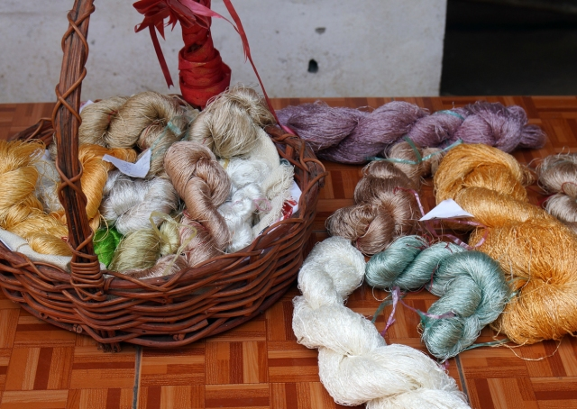 The variety of natural dyed silk