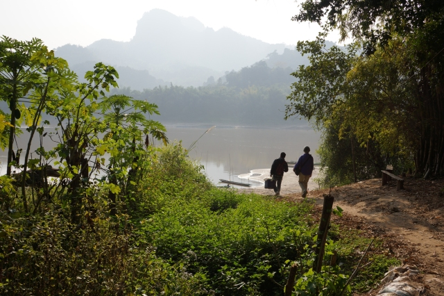 Walking back to the boat to continue our journey on the Mekong