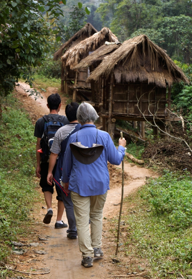 Approaching the village -- these are the rice storage huts