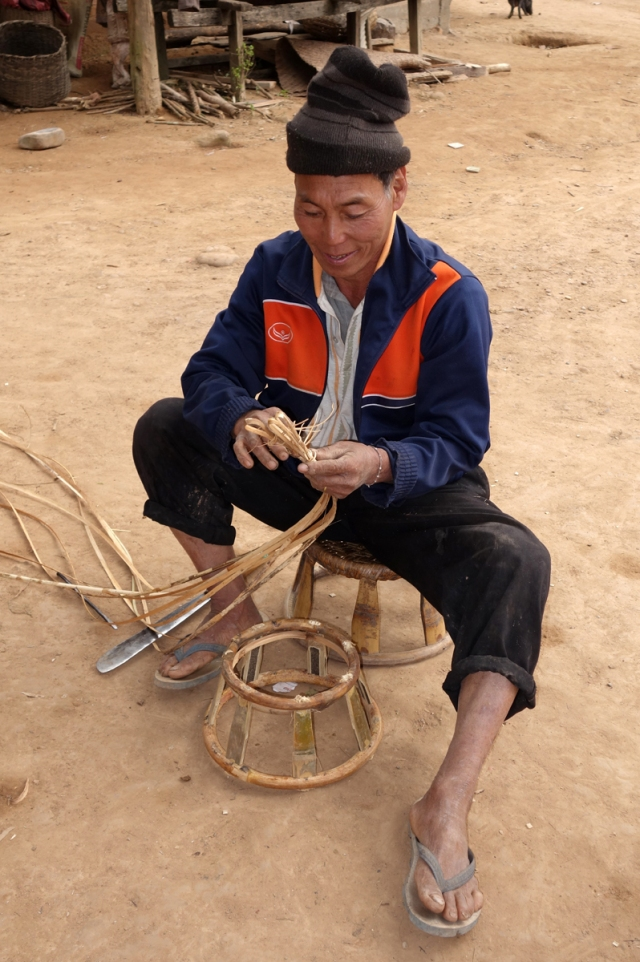 This man demonstrated how he was making these stools -- fascinating